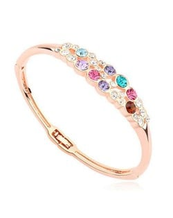 Austrian Crystal Embellished Charming Design Women Bangle - Multicolor