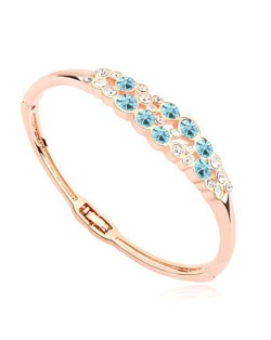 Austrian Crystal Embellished Charming Design Women Bangle - Aquamarine