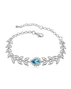 Elegant Leaves and Flower Combo Design Austrian Crystal Women Bracelet - Aquamarine
