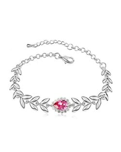 Elegant Leaves and Flower Combo Design Austrian Crystal Women Bracelet - Rose