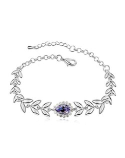 Elegant Leaves and Flower Combo Design Austrian Crystal Women Bracelet - Violet