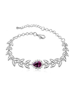 Elegant Leaves and Flower Combo Design Austrian Crystal Women Bracelet - Purple