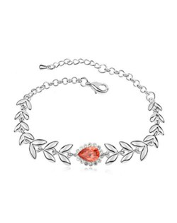 Elegant Leaves and Flower Combo Design Austrian Crystal Women Bracelet - Red
