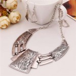 Vintage Tribe Style Hollow Necklace and Earrings Set - Silver