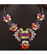 Resin Gem Bright Colors Howllow Design Women Fashion Necklace