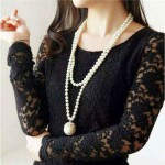 Pearl Fashion Long Chain Luxurious Pearl Pendant Women Statement Necklace