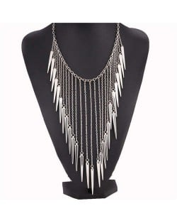 Rivets Pendants Punk High Fashion Bib Statement Necklace - Silver