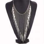 Rivets Pendants Punk High Fashion Bib Statement Necklace - Silver