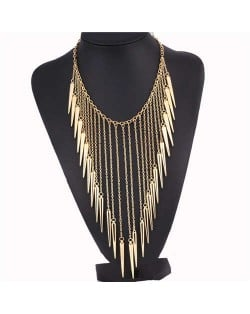 Rivets Pendants Punk High Fashion Bib Statement Necklace - Golden