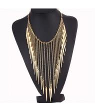 Rivets Pendants Punk High Fashion Bib Statement Necklace - Golden