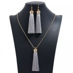 Cotton Threads Tassel Bohemian Fashion Long Chain Necklace and Earrings Set - Gray