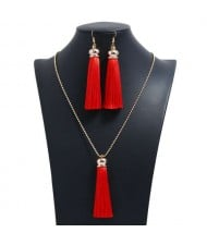 Cotton Threads Tassel Bohemian Fashion Long Chain Necklace and Earrings Set - Red