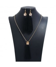 Cotton Threads Tassel Bohemian Fashion Long Chain Necklace and Earrings Set - Black