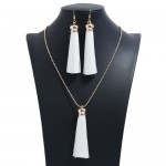 Cotton Threads Tassel Bohemian Fashion Long Chain Necklace and Earrings Set - White