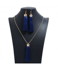Cotton Threads Tassel Bohemian Fashion Long Chain Necklace and Earrings Set - Ink Blue