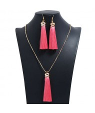 Cotton Threads Tassel Bohemian Fashion Long Chain Necklace and Earrings Set - Pink