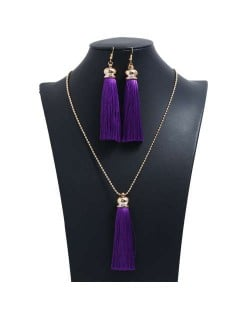 Cotton Threads Tassel Bohemian Fashion Long Chain Necklace and Earrings Set - Purple