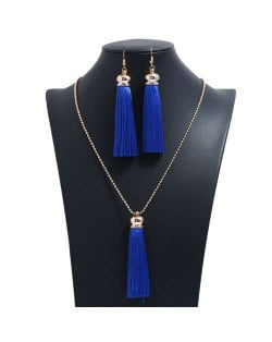 Cotton Threads Tassel Bohemian Fashion Long Chain Necklace and Earrings Set - Rayal Blue