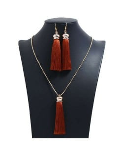 Cotton Threads Tassel Bohemian Fashion Long Chain Necklace and Earrings Set - Brown