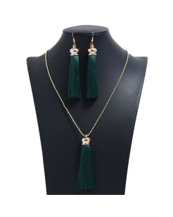 Cotton Threads Tassel Bohemian Fashion Long Chain Necklace and Earrings Set - Ink Green