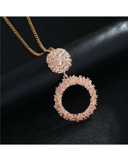 High Fashion Hoop Dangling Pendant Design Women Costume Necklace - Rose Gold