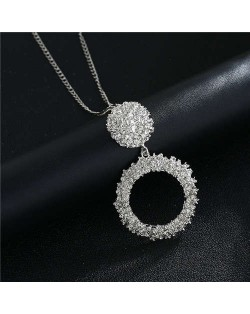 High Fashion Hoop Dangling Pendant Design Women Costume Necklace - Silver
