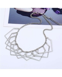Unique Irregular Shape Hollow Style Women Bib Necklace - Silver