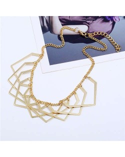 Unique Irregular Shape Hollow Style Women Bib Necklace - Golden