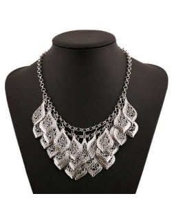 Multi-layer Hollow Leaves Vintage Bold Fashion Women Bib Necklace - Silver