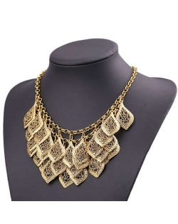Multi-layer Hollow Leaves Vintage Bold Fashion Women Bib Necklace - Copper