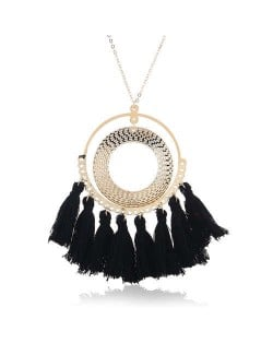 Cotton Threads Tassel Hoop Pendant Bohemian Fashion Necklace - Black