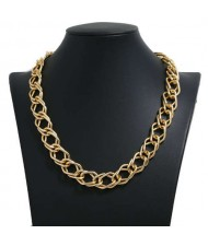18k Gold Plated Plain Chain Design Costume Alloy Necklace