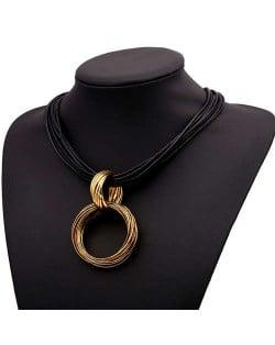 Graceful Hoop Pendant Short Rope Costume Necklace - Copper