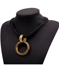 Graceful Hoop Pendant Short Rope Costume Necklace - Copper