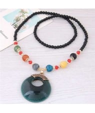 Resin Gem Pendant Beads Long Chain Graceful Fashion Costume Necklace - Green