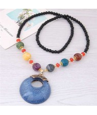 Resin Gem Pendant Beads Long Chain Graceful Fashion Costume Necklace - Blue
