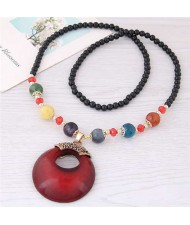 Resin Gem Pendant Beads Long Chain Graceful Fashion Costume Necklace - Red