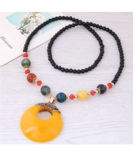 Resin Gem Pendant Beads Long Chain Graceful Fashion Costume Necklace - Yellow