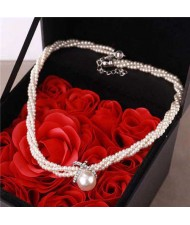 Graceful Pearl Fashion Short Women Costume Necklace - White