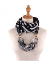 Acrylic Chain Decorated High Fashion Cotton Women Scarf Necklace - Black