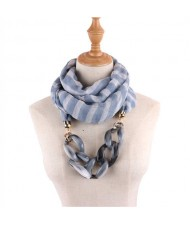 Acrylic Chain Decorated High Fashion Cotton Women Scarf Necklace - Sky Blue