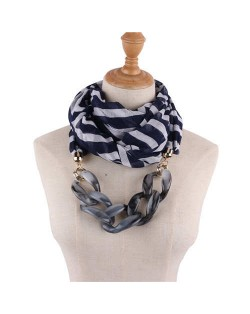 Acrylic Chain Decorated High Fashion Cotton Women Scarf Necklace - Ink Blue