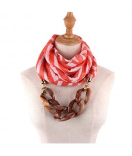 Acrylic Chain Decorated High Fashion Cotton Women Scarf Necklace - Red