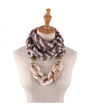 Acrylic Chain Decorated High Fashion Cotton Women Scarf Necklace - Brown