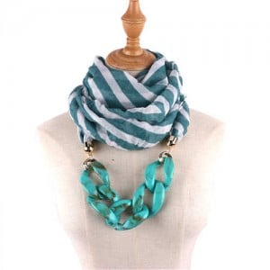 Acrylic Chain Decorated High Fashion Cotton Women Scarf Necklace - Green