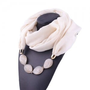 Resin Beads Decorated High Fashion Bali Yarn Women Scarf Necklace - White