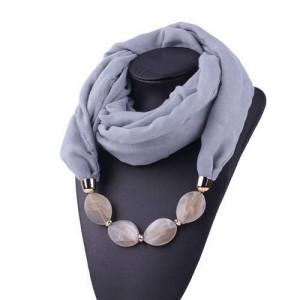 Resin Beads Decorated High Fashion Bali Yarn Women Scarf Necklace - Gray
