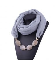 Resin Beads Decorated High Fashion Bali Yarn Women Scarf Necklace - Gray