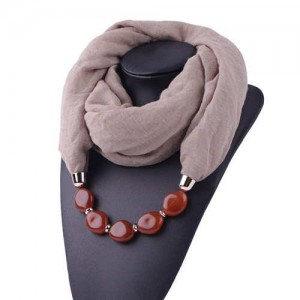 Resin Beads Decorated High Fashion Bali Yarn Women Scarf Necklace - Brown