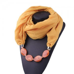 Resin Beads Decorated High Fashion Bali Yarn Women Scarf Necklace - Yellow